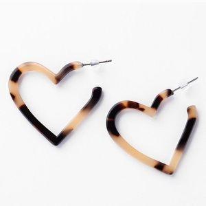 Earrings Acrylic Tortoise Leopard Post Heart Hoops